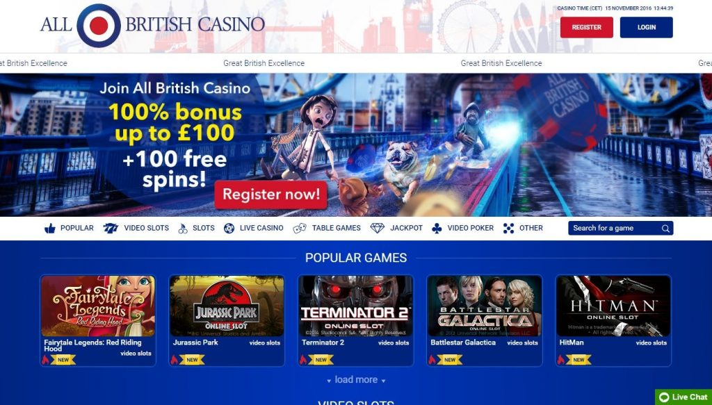 All-british-casino homepage